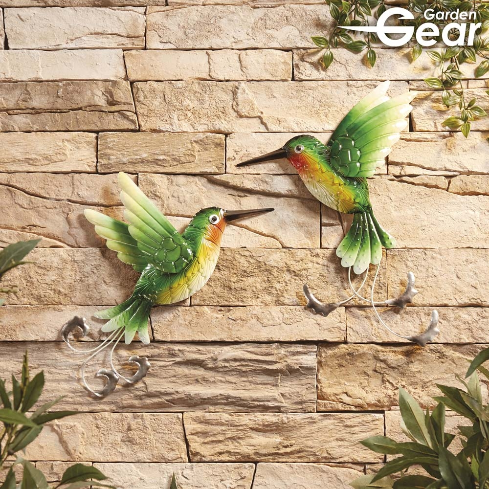 Garden Gear Set Of 2 Metal Hummingbirds Wall Art Garden Gear